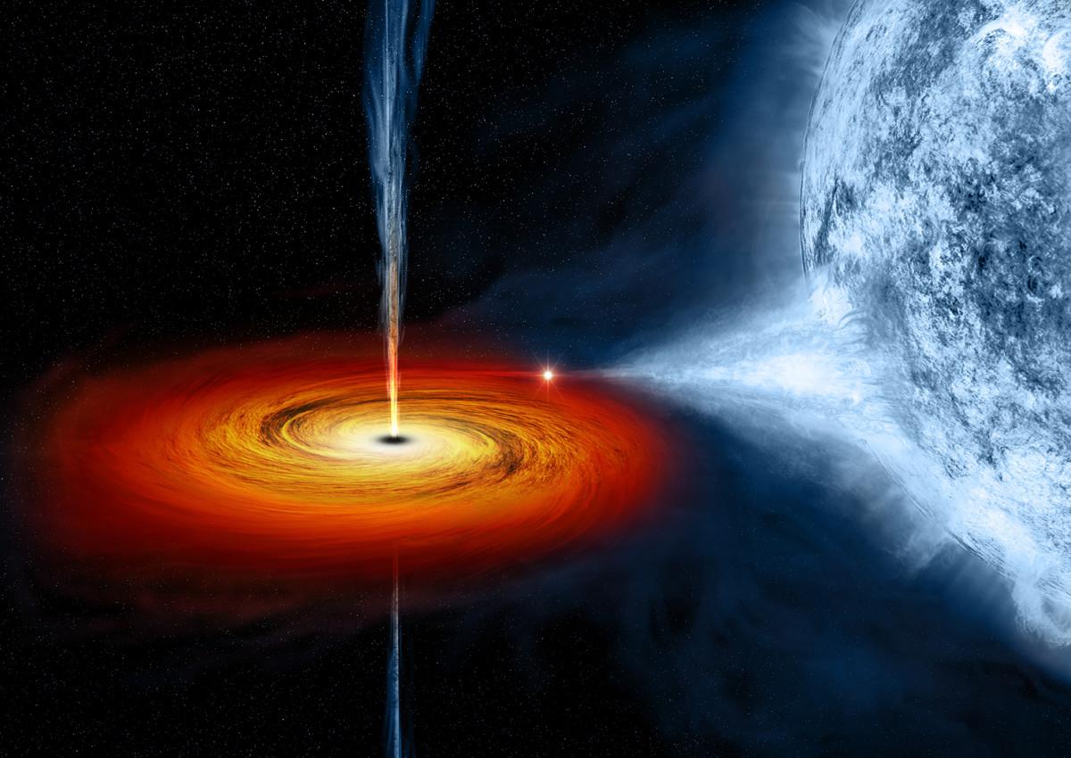 Kresba černé díry Cygnus X-1 s akrečním diskem, která odčerpává hmotu blízké hvězdě